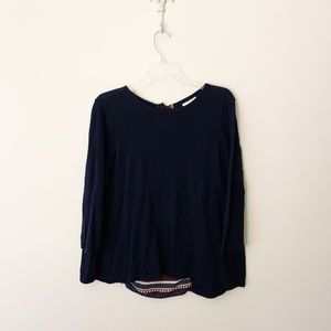 LOFT Sweater with Striped Accent Back